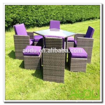Ensemble de salle à manger en rotin Audu Miami Purple Outdoor Garden
