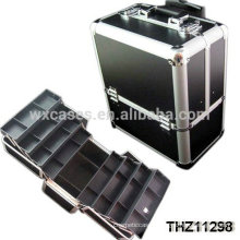 professional aluminum cosmetic rolling case with 8 trays inside from Foshan