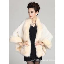 Mulher moda acrílico de malha faux pele inverno xale (yky4465)