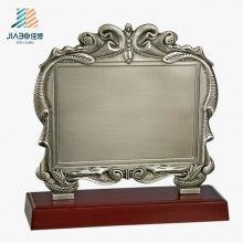 Пользовательские 17.5*16.5 см логотип старинное серебро пустой металлический Сувенирная тарелка