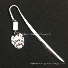 Custom High Quality Shiny Chrome Plating Book Mark with Customized Soft Enamel Pendant for Promotion