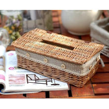 (BC-ST1095) High Quality Handmade Willow Facial Tissue Box with Cover
