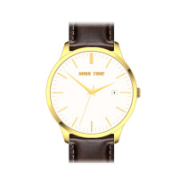 oem goldlis leather quartz man wrist watch