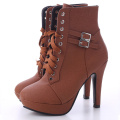 Wanita Kulit Lace Up Booties buku lali