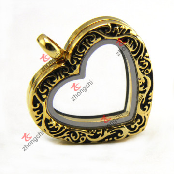 Fashion Imitation Gold Floating Locket, Heart Living Locket Collier en gros (ZC-L149)