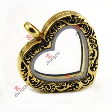Fashion Imitation Gold Floating Locket, Heart Living Locket Necklace Wholesale (ZC-L149)