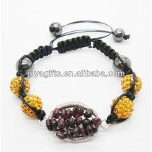 10MM Amarelo Esferas de cristal tecido pulseira com Garnet chip sorte gemstone árvore