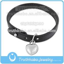 Pequeña joyería de cremación personalizada en la pulsera para el acero inoxidable de ceniza Encanto del corazón Joyería de cuero negro
