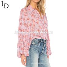 Camisa de impresión de manga larga con blusa larga y tamaño extra grande