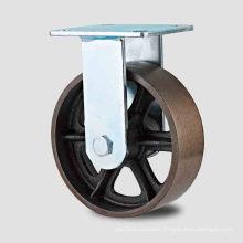 H11 Heavy Duty Fixed Type Double Ball Bearing V Mode Cast Iron Wheel Caster