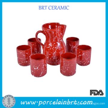 Red with White Splashed Ceramic Wine Set