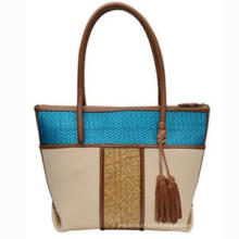 2016 Ss New Collection Contrast Color Straw PU Tote Bag (ZX20039)