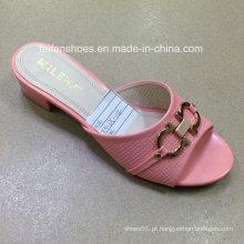 Novo estilo de boa qualidade moda feminina pu chinelo sandálias (jh160523-4)