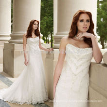 2014 новое Прибытие атласная без бретелек милая тонкой ручной бисером лиф-line свадебное платье свадебное платье на заказ NB0883