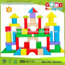 EZ1013 50pcs Creative Stacking Kids Wooden Blocks w/ bucket