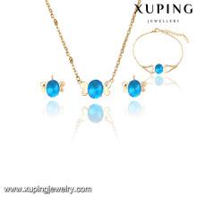 63843 Xuping Hot vente strass indien bijoux de mariée ensembles jodha akbar avec 18k plaqué or