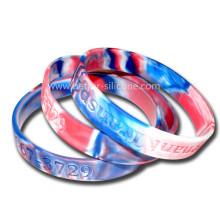 Multi Color Mixed Camouflage Swirl Silicone Wristband