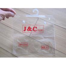 ПВХ одежды и нижнего белья пластиковый пакет, ПВХ косметический мешок упаковки с крюком / вешалка и кнопки (hbpv-66) (hbpv-66)