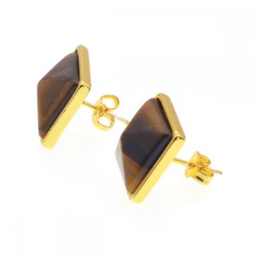Tiger's Eye Girls Friendship Stud Pendientes