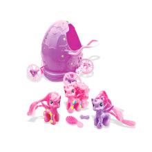 Juguete de la niña de plástico suave caballo en huevo regalo de promoción de carro (h0839018)