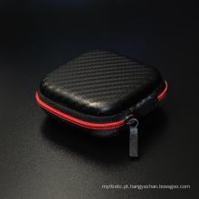 Hot Sale Black Fiber Zipper Hard Auscultadores Estojo para fone de ouvido Armazenamento Bolsa de bolsa Quadrado