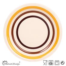 Orange and Brown Circles Stoneware Dinner Plate