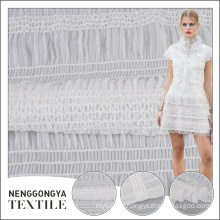 Tend style 100% polyester embroidered yoryu white chiffon fabric