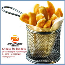 "Assorted cheese sticks strainers stainless steel single mesh fine sturdy baskets 8-1/2"" diameter fryer baskets"