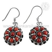 Aristocratique bijoux en pierres précieuses en corail rouge 925 boucles d'oreille en argent sterling bijoux en argent indien