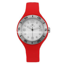 Stainless steel women's red silicone strap watches