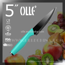 """5"""" Black Ceramic Paring Knife with Stainless Steel Endcap China OEM"""