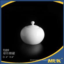 2016 wholesale airline special round design ceramic sugar pot