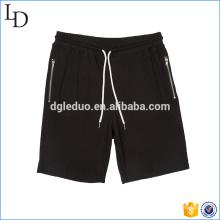 Pantalones cortos negros térmicos del bolsillo del bolsillo del zip pantalones cortos atléticos de la gimnasia del sudor