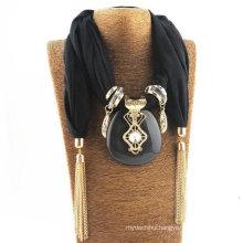 Latest women infinity pendant embellished jewelry scarf with pendant