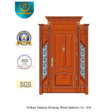 Puerta de acero de estilo clásico de seguridad con talla y hierro (B-9009)