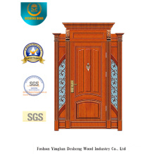 Classic Style Security Steel Door with Carving and Iron (B-9009)
