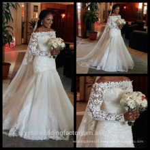 Sparkly Cheap 2016 Long Sleeve Sequins Backless Lace Mermaid Wedding Gown CWF2423