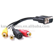 SVGA VGA to AV CONVERTER CABLE S-VIDEO 3 RCA TV ADAPTER