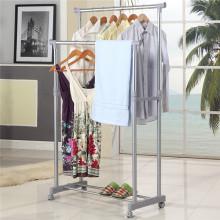 DIY Double-Rod estendida telescópica Rolling closet Garment Rack