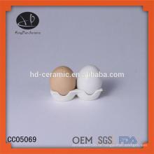 Eiform mit Verpackung, Salz- und Pfefferstreuer, Keramiksalz und Pfefferstreuer