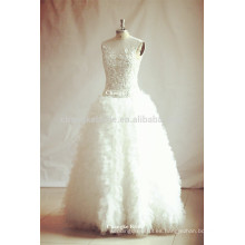 2016 que rebordea los vestidos de boda sin mangas acanalados de Tulle del vestido nupcial