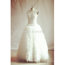2016 beading ruched sleeveless bridal gown tulle wedding dresses