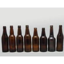 Botella de cerveza de cristal ámbar al por mayor