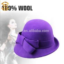Neue Art und Weise elegante purpurrote 100% Wolle Dame Felt Fedora Hut