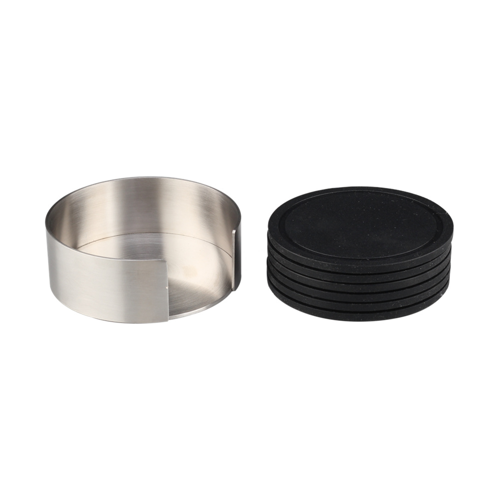 With Stainless Steel Holder Drink Coaster