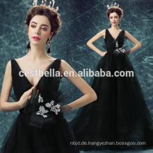 2015 High Fashion europäischen Stil Backless Luxus Abendkleid schwarz