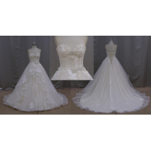 Кружева Ремень Полный Ручной Бисером Свадебное Платье