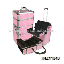 professional pink cosmetic trolley cases