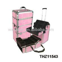 casos de trole cosméticos rosa profissional
