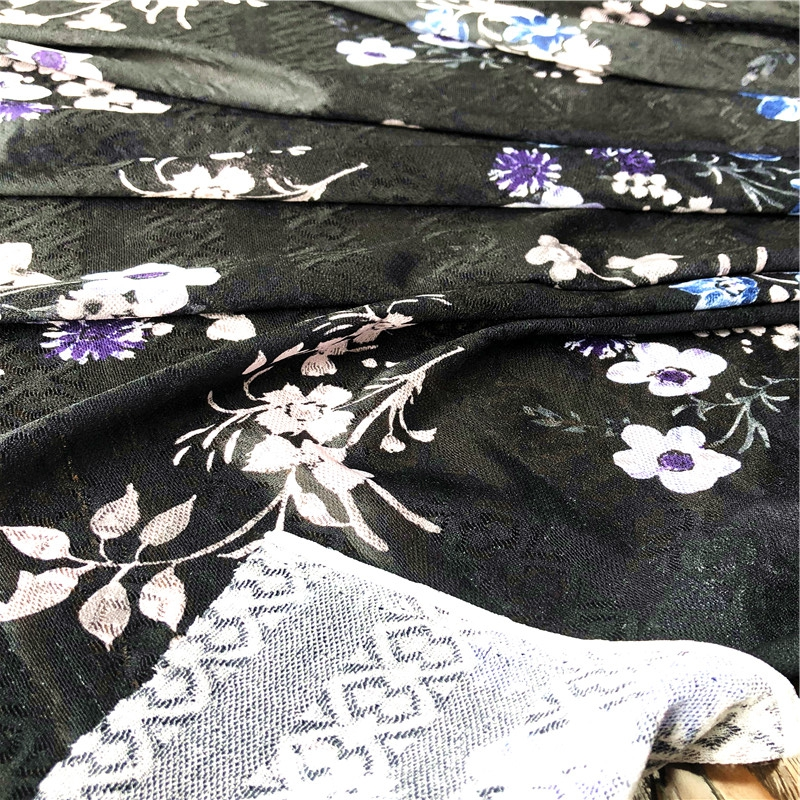 floral printing on jacquard mesh fabric